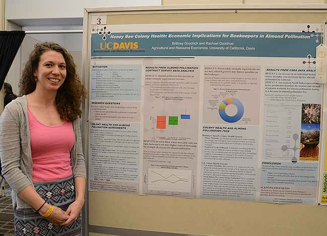 Third place went to UC Davis graduate student Britney Goodrich for her poster on honey bee colony health. (Photo by Kathy Keatley Garvey)