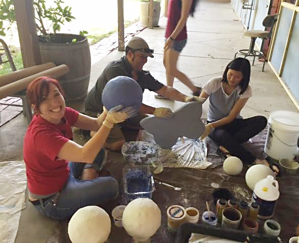 Working on their projects: From left are Entomology 1 students  Madeleine Wieland,  Mark Rivera, and Erica Pan. (Photo by Diane Ullman)