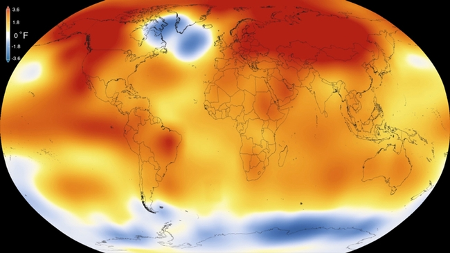 2015 – Warmest global year on record (since 1880) – Colors indicate temperature anomalies (NASA/NOAA; 20 January 2016). (Courtesy Wikipedia)