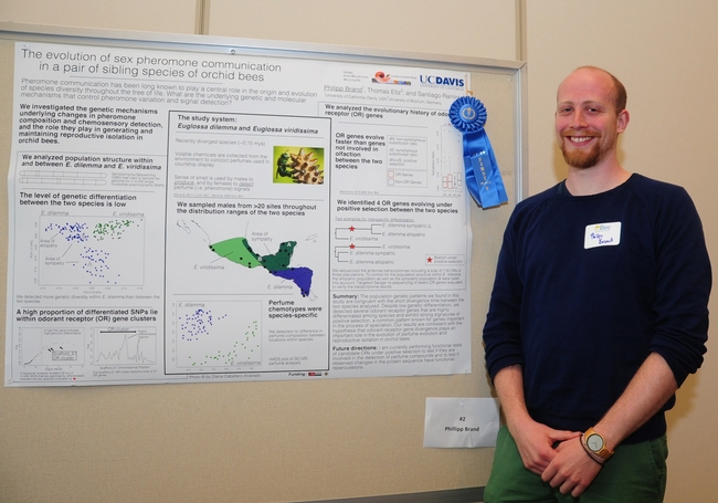 Phillipp Brand of the UC Davis Department of Evolution and Ecology with his first-place poster. (Photos by Kathy Keatley Garvey)