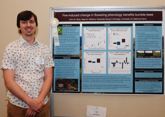 John Mola of the UC Davis Department of Entomology and Nematology with his third-place poster.