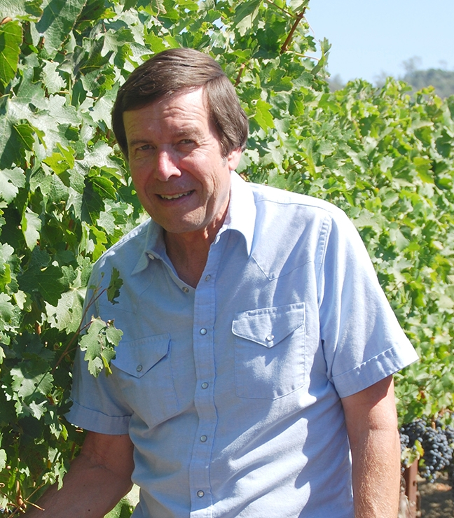 Integrated pest management specialist Frank Zalom, UC Davis distinguished professor of entomology, is shown in a vineyard. Recently, he and USDA-ARS virologist Mysore Sudarshana identified the vector of grapevine red blotch virus in vineyards as a treehopper, which now opens the possibility for developing a management approach to control the spread of the virus.