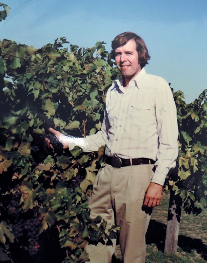 Entomologist Frank Zalom in a vineyard, circa 1970s.