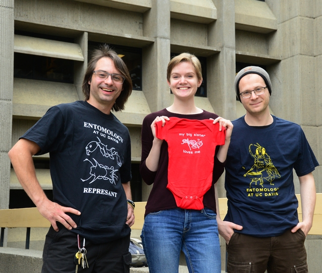 EGSA's t-shirt design winners: (from left) Brendon Boudinot wearing his t-shirt,