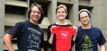 EGSA's t-shirt design winners: (from left) Brendon Boudinot wearing his t-shirt,