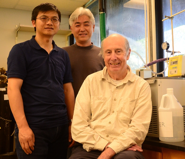 Bruce Hammock (front) is flanked by two of his researchers, co-first author Jun Yang (left) and Sung Hee Hwang. (Photo by Kathy Keatley Garvey)