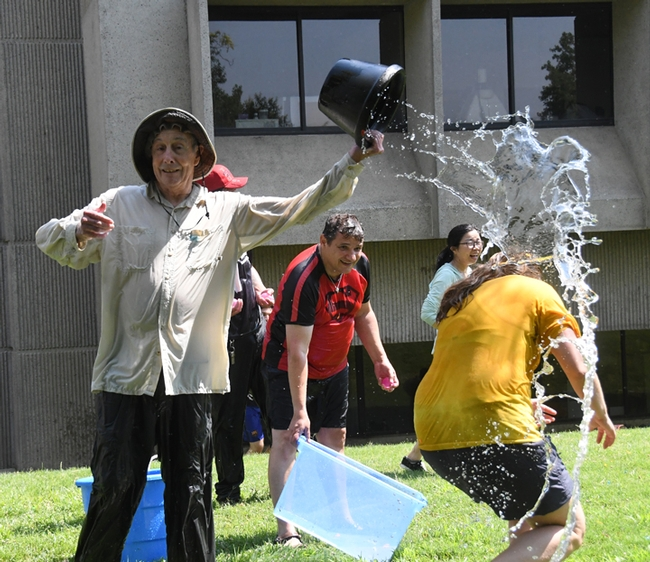 Bruce Hammock douses his doctoral student, Cindy McReynolds.