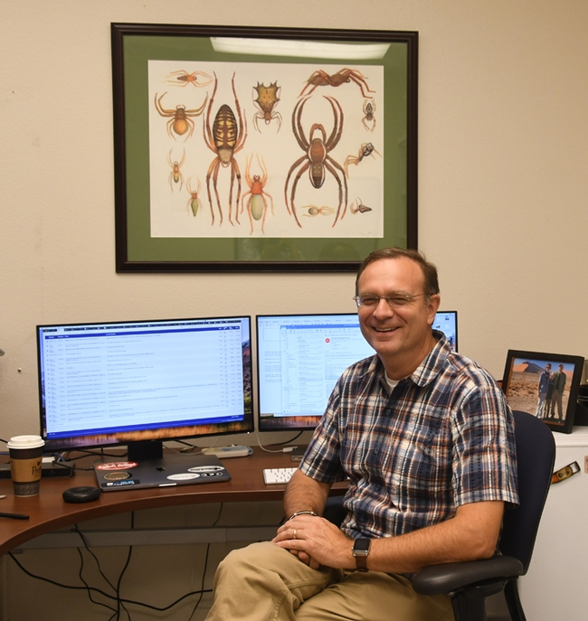 Professor Jason Bond, newly selected Evert and Marion Schlinger Endowed Chair in Insect Systematics, the UC Davis Department of Entomology and Nematology, in his office in Academic Surge. (Photo by Kathy Keatley Garvey)