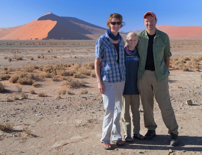 Professor Jason Bond and his wife, Kristen, and daughter, Elisabeth, in Namibia doing field work on fog-basking tenebrionids.