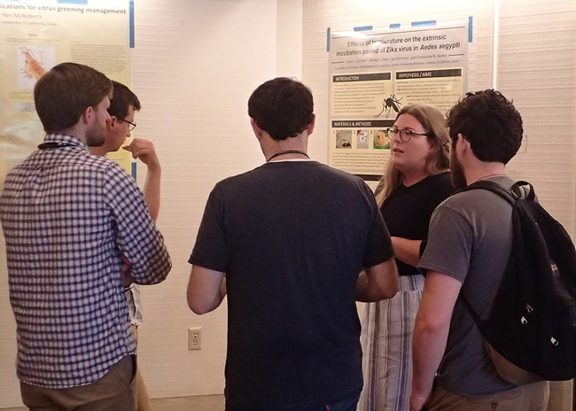 Doctoral student Olivia Winokur talks to a group about her research at the 2018 DEBVBD Symposium. She studies with medical entomologist Chris Barker. (Photo by Kathy Keatley Garvey)