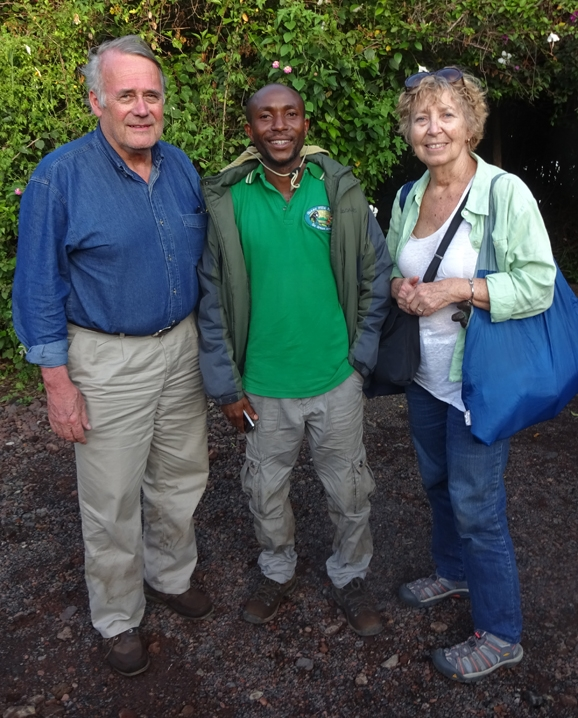 Jim and Patty Carey with guide, they were on their way from Rwanda to Congo for the mountain gorilla trek in Goma, Congo.