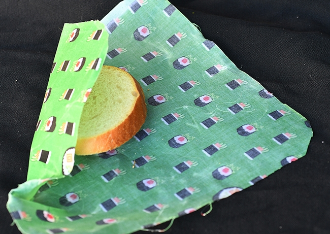 Wax sandwich wrappers are environmentally friendly, sustainable, economical and a reusable alternative to plastic bags. (Photo by Kathy Keatley Garvey)