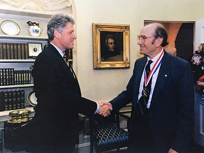 Tom Eisner received the National Medical of Science in 1994 from President Bill Clinton.