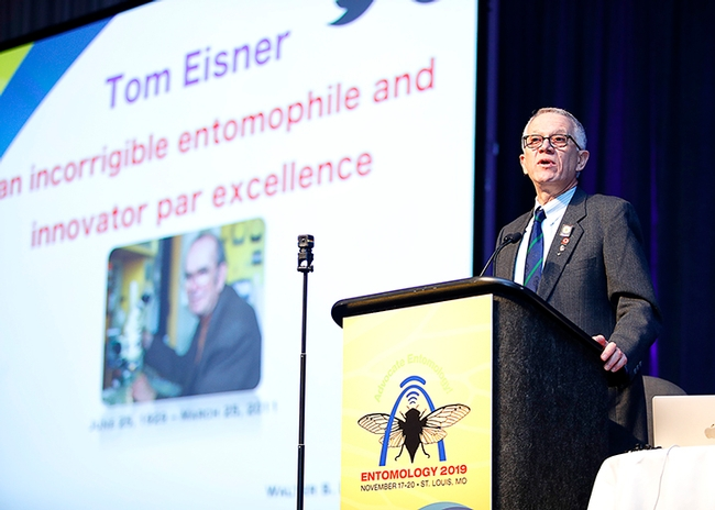 UC Davis chemical ecologist and distinguished professor Walter Leal, presenting his Founder's Memorial Lecture at the Entomological Society of America meeting on Tom Eisner.