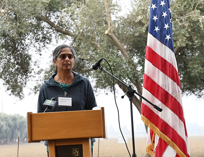 Research entomologist Arathi Seshadri greets the crowd. (Photo by Kathy Keatley Garvey)