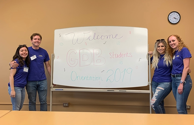 The Global Disease Biology Orientation that Andrea Guggenbickler planned was hailed as a huge success.  From left are Bianca Arao, peer advisor, graduating this spring 2020; Austin Dalmasso, peer advisor, graduating this spring 2020; academic advisor Andrea Guggenbickler; Nicole Finney, former peer advisor, a 2019 GDB graduate and currently studying for her master's in public health.