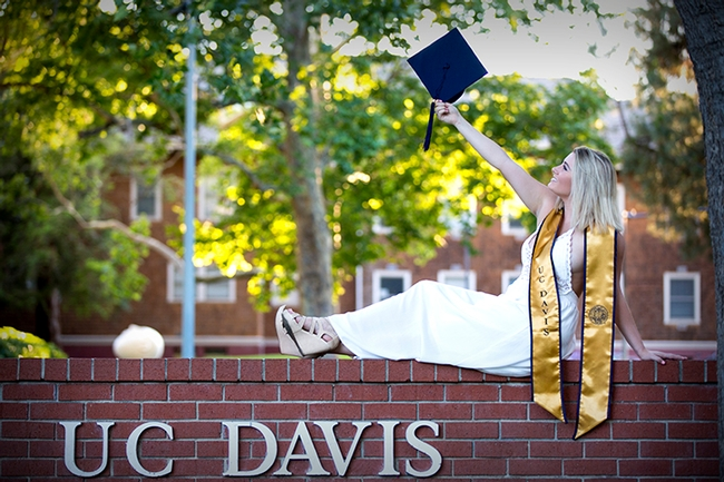 Andrea Guggenbickler celebrating her graduation from UC Davis in 2018. She received a bachelor of science degree in global disease biology.