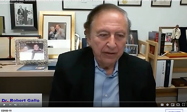 Renowned virologist Dr. Robert Gallo ponders a question as he is interviewed by UC Davis distinguished professor Walter Leal for the June 3rd COVID-19 symposium.