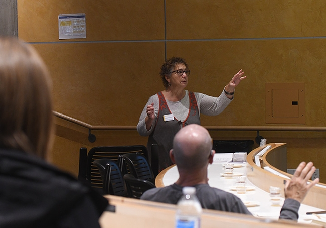 Amina Harris, director of the UC Davis Honey and Pollination Center, leads a discussion at a recent honey sensory workshop. The Oct. 22 sensory workshop will be virtual. (Photo by Kathy Keatley Garvey)