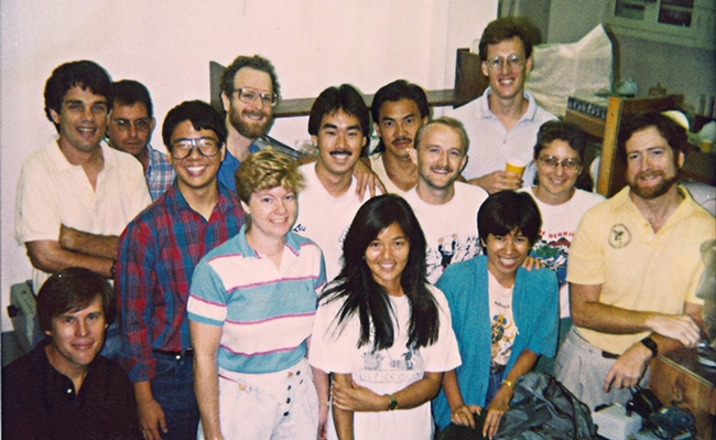 Postdoctoral researcher Jay Rosenheim (back row, far right) at the University of Hawaii in 1988. His advisors were  Marshall Johnson (front row, far right) and Bruce Tabashnik (back row, third from left).