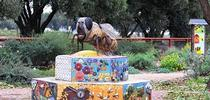 This worker bee sculpture by Donna Billick of Davis, anchors the Häagen-Dazs Honey Bee Haven on Bee Biology Road. (Photo by Kathy Keatley Garvey) for Entomology & Nematology News Blog
