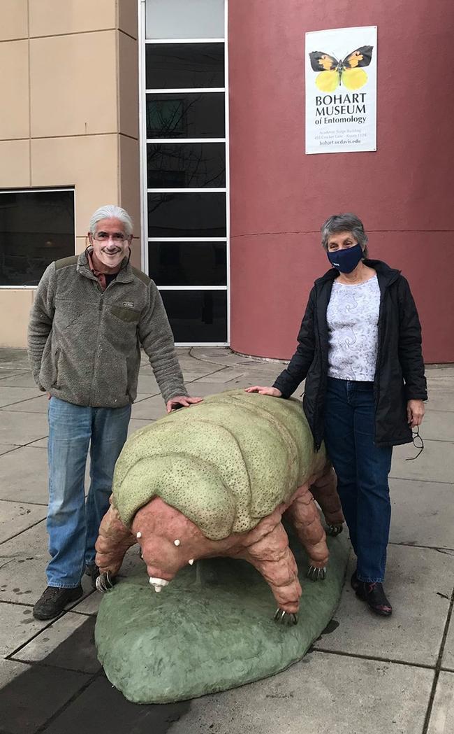 Artist Solomon Bassoff and Bohart Museum director Lynn Kimsey stand by the tardigrade sculpture. (Photo courtesy of Solomon Basshoff)