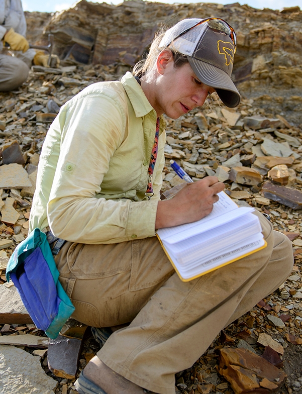 Paleoecologist Ellen Currano in the field.