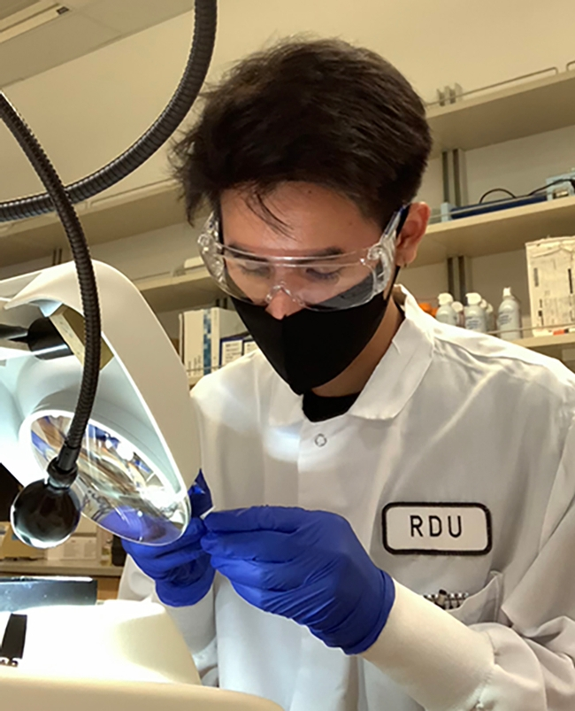 Biochemistry and molecular biology major Barry Nguyen doing research.