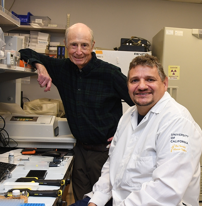 UC Davis distinguished professor Bruce Hammock (left) and researcher Christophe Morisseau of the Hammock lab are part of the