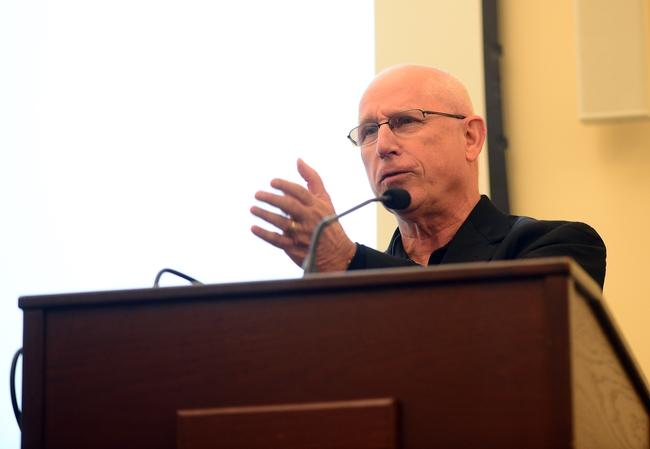 In this 2018 image, Thomas Sparks praises Bruce Hammock at the Hammock lab reunion at UC Davis. (Photo by Kathy Keatley Garvey)