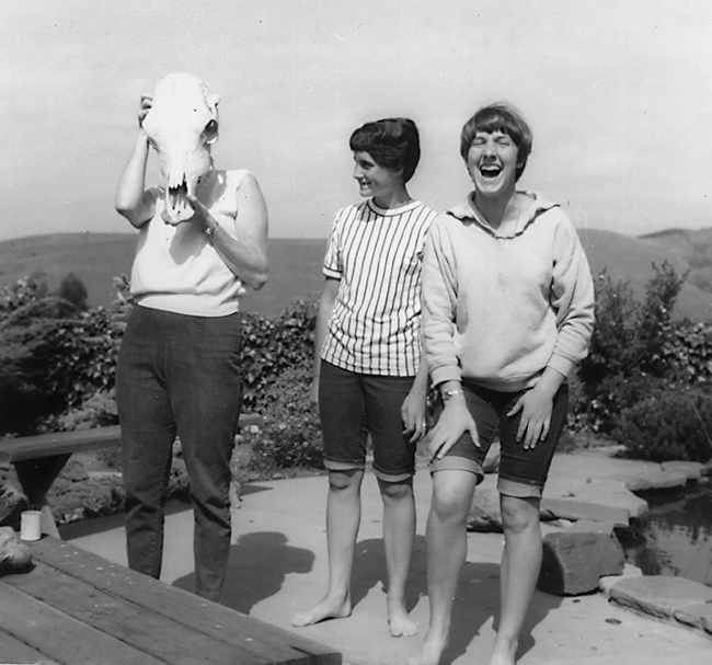 High school student Lynn Siri (far right) poses for a humorous photo with her mother, Jean Siri (wearing the skull) and sister Anne Siri.  Jean Siri drove Lynn to all the locations in her San Francisco Bay intertidal invertebrate project.