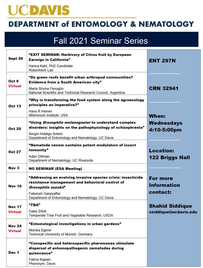 Fall quarter seminars