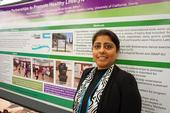 UCCE nutrition, family and consumer sciences advisor Deepa Srivastava in front of one of the posters she presented at the California Childhood Obesity Conference.