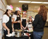 Winning team, the Chili Birds of the Vaca Valley 4-H Club, with judge Heidi Johnson. (Photo by Kathy Keatley Garvey)