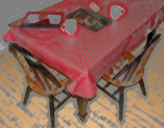 Kitchen tables elicit memories of good food and loving family.