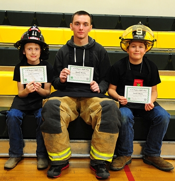 The 4-Alarm Team was comprised of (from left) Cody Ceremony, Randy Marley and Justin Means. All are members of the newly formed Pleasants Valley 4-H Club and are enrolled in the Dixon Ridge 4-H Club/Pleasants Valley 4-H Club outdoor cooking project.