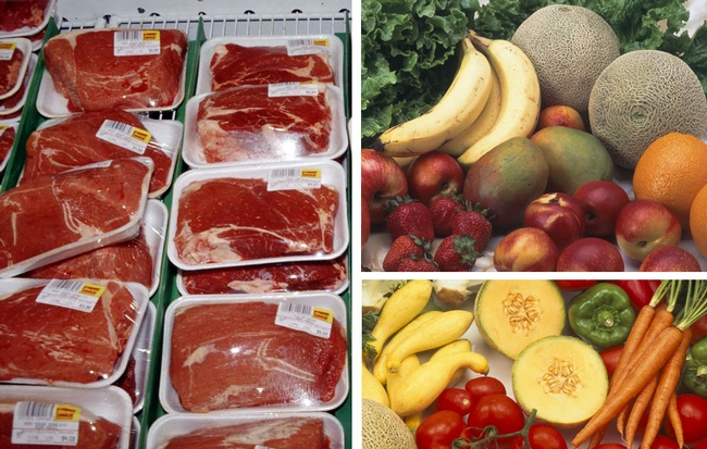 Meat, fruit and vegetables are staples in a Paleo diet.