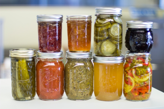 Collection of preserves from a UC Master Food Preserver's Garden. Photo credit: Melissa Womack