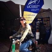A World Ag Expo visitor rides the 4-H smoothie bike.