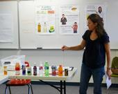 UC Cooperative Extension nutrition educator Estela Cabral de Lara teaches a class about the drawbacks of heavily marketed beverages.