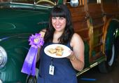 4-H enthusiast Angelina Gonzalez with her best-of-show salted caramel bars, Solano County Fair. (Photo by Kathy Keatley Garvey)