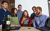 The iGEM olive-oil biosensor inventors are, from left, James Lucas, Sarah Ritz, Simon Staley, Yeonju Song, Brian Tamsut and Lucas Murray. Not pictured here was team member Aaron Cohen. (Karen Higgins/UC Davis)