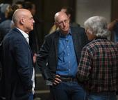 (From left) Mark Bittman, Michael Pollan and Garrison Sposito talk Jan. 26 at the opening for the Edible Education course at UC Berkeley.