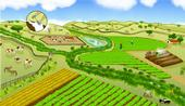A farming landscape can be co-managed for both produce safety and nature conservation. Promising practices include buffering farm fields with non-crop vegetation to filter pathogens from runoff and planting low-risk crops between leafy green vegetables and grazeable lands.(Illustration by Mattias Lanas and Joseph Burg)