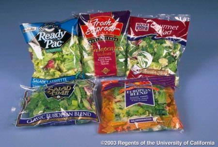 Packaged leafy greens.