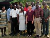 Kathryn Dewey (center with maroon shirt) with collaborators in Africa.