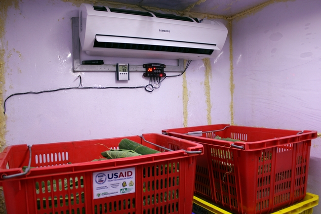 View inside a cold room, with crates of fresh vegetables in front of a wall-mounted air conditioner wired to a CoolBot device. One of the vegetable crates has a sticker on it with logos including USAID.