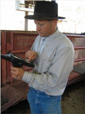 Herd manager Dan Myers enters cattle <br>information into hand-held device.