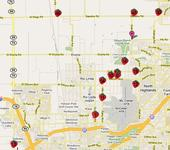 A map of strawberry stands in Sacramento.