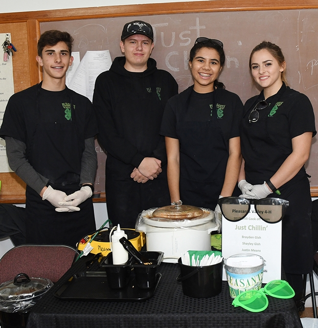 4-H'ers from the Pleasants Valley 4-H Club, Vacaville, await the judges. From left are Brayden Gish, Justin Means, Maya Prunty and Shayley Gish. They made a recipe reportedly favored by